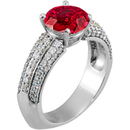 Lots of Bling! - Euro Shank set with GEM 1.40 carat 6.5mm Genuine Ruby Engagement Ring for SALE