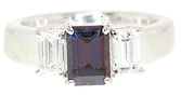 Rare Vivid Color Change 1 carat GEM 7x5mm Emerald Cut Alexandrite and .65cts Diamond Ring in Platinum