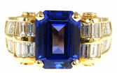 Stunning Custom Made 7 carat 13x9mm Tanzanite and Diamond Gemstone Ring in 14 karat gold