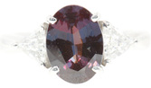 Finest Quality 2 carat GEM 100% Color Change Alexandrite & .40cts Trillion Diamond Ring in Platinum - SOLD