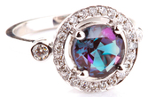 Very Impressive Fine GEM 2 ct Alexandrite set in 18kt Ring With Diamond Frame and Accent - SOLD