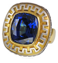 UltimateTanzanite Designer Ring with Greek Motif Engraving and Blue Sapphire Accents - SOLD