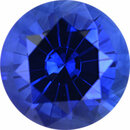 Attractive Sapphire Loose Gem in Round Cut, Vibrant Violet Blue, 6.41 mm, 1.23 Carats