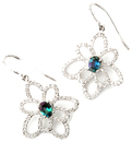 Fabulous Wire Back Flower Earrings With Diamond Outline Petals and Natural Alexandrite Centers - 0.76 carats, 6.05 x 4.42 mm