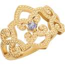 Trendy 14k Yellow Gold Granulated Design Band Ring With Exquisite Round 2.75mm Tanzanite Gemstone