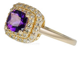 Deep Lavender Natural .85ct 6mm Amethyst set with Pave Diamonds in 14 karat Yellow Gold