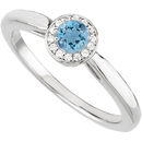 Affordable GEM .25ct 4mm Round Cut Blue Genuine Aquamarine Stone set in Classic White Gold Ring for SALE
