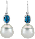 Oval London Blue Topaz Dangle Earrings