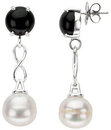 Sterling Silver Onyx & Freshwater Cultured Pearl Earrings