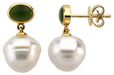 14KT Yellow Gold 8x6mm Nephrite Jade & 12mm South Sea Cultured Pearl Earrings