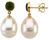 South Sea Pearl & Nephrite Jade Earrings