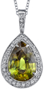 Over The Top 6.6 carat Chartreuse Sphene Pendant With 0.70ct Diamond Accents - 18kt White Gold