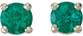14KT White Gold 4mm Round Chatham Created Emerald Friction Post Stud Earrings
