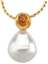 14KT White Gold 6mm Citrine & 12mm South Sea Cultured Circle Pearl Pendant