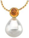 14KT White Gold 6mm Citrine & 11mm South Sea Cultured Circle Pearl Pendant