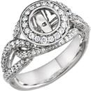 Elaborate 3/8ctw Diamond Accented Preset Ring Shank With Chain Link Style Band & Halo Frame in 14kt White Gold