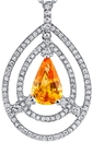 Eye-Catching 2.72 carat Pear Shape Golden Sapphire Gem Pendant With Double Open Diamond Halo - 18kt White Gold