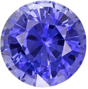 Fiery Ceylon Blue Sapphire Loose Faceted Gem in Round Cut, Medium Rich Blue, 6 mm, 1.11 carats