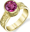 Pretty Hand Carved 1.93ct Oval Pink Spinel Bezel Set Gemstone Ring in 18kt Yellow Gold - Intricate Design