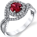 Rich Look in 0.87ct Round Bright Red Spinel Gemstone Ring in 18kt White Gold - 0.59ctw Diamond Accents - Handmade