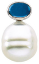 14KT Yellow Gold 8x6mm London Blue Topaz & 11mm South Sea Cultured Pearl Pendant