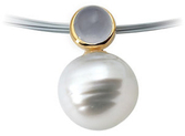 14KT Yellow Gold 6mm Blue Chalcedony & 11mm South Sea Cultured Circle Pearl Pendant
