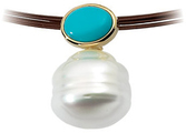 14KT White Gold 7x5mm Turquoise & South Sea Cultured Pearl Pendant