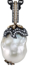 Stylish Hand Made Free Form Natural South Sea Pearl Pendant With Diamond Accents in Sterling Silver & 18kt Yellow Gold