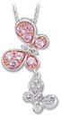 14KT White Gold & Rose Plated 1/10 Carat Total Weight Diamond & Pink Sapphire Necklace