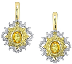 Sunny Yellow Sapphire Hand Crafted 18kt 2-Tone Gold Earrings With 1.8 carat total weight Yellow Sapphire Gems