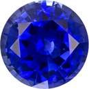 Rich Blue Sapphire Genuine Ceylon Origin Gemstone in Round Cut, 6.5 mm, 1.22 Carats