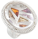 Multi-Gemstone Granulated Design Ring