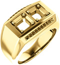 2-Stone Accented Men's Ring Mounting for Asscher Shape Centergem Sized 2.00 mm to 6.00 mm - Customize Metal, Accents or Gem Type