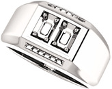 2-Stone Accented Men's Ring Mounting for Emerald Shape Centergem Sized 5.00 x 3.00 mm to 7.00 x 5.00 mm - Customize Metal, Accents or Gem Type