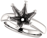 Round 6-Prong Solitaire Ring Mounting for 4.80 - 10.00 mm Center - Customize Metal, Accents or Gem Type
