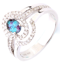 Amazing Split Shank Triple Band Natural 0.55cts 6.02 x 4.23 mm Alexandrite Gemstone Ring With .40cts Diamond Detailing