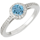 Traditional Genuine .25ct 4mm Aquamarine Gemstone in a Deep Blue Color set in 14kt White Gold for SALE