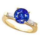 Stunning Vivid Blue 1 ct GEM 5.8mm Blue Sapphire Gemstone Engagement Ring With Diamond Baguette Side Gems