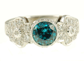 Stunning Bezel Set Blue Zircon and Diamond ring in 18 kt white gold for SALE - Diamond Studded Mounting - SOLD