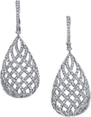 Dramatic 3.05 cara Pave Diamond Lever Back Dangle Earrings in 18kt White Gold - Stunning Look