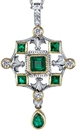 Striking Emerald Gemstone HandMade Pendant With 0.2 ct Diamond Accents in 18kt 2 Tone Gold -  6 Gem Emeralds 1.21 carats