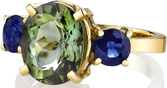 Colorful Unique 3-Stone Ring With 3.7 ct Oval Green Tourmaline Center & 1.38ct Round Blue Sapphire Side Gems - 14kt Yellow Gold - SOLD