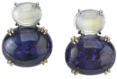 Super Impressive Moonstone 11 carats and Tanzanite 62 carats Earrings set in 18 karat Gold - SOLD