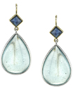 Eye-Catching Multi Gem Dangle Earrings With Cabochon Pear Aquamarines (25.64ctw) & Square Blue Sapphire
