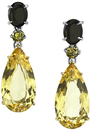 Eye-Catching 18kt Gold Multi Gemstone Dangle Earrings - Black Star Sapphires, Round Brown Diamonds, 16 carat Yellow Beryl Gems