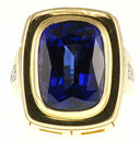Custom made 15 carat Tanzanite and Diamond gemstone gemstone ring in 2 tone 18 karat gold - SOLD