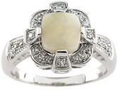 Opal & Diamond Accented Ring