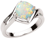 14KT White Gold .03 Carat Total Weight Genuine Opal & Diamond Ring