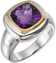 Sterling Silver & 14KT Yellow Gold Checkerboard Amethyst Ring