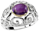 Amethyst Scroll Design Ring